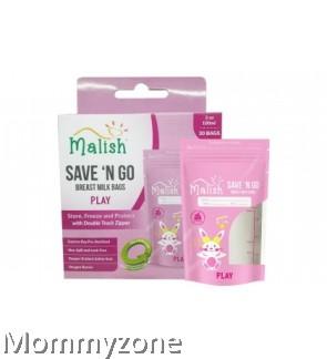 MALISH – SAVE 'N GO BREAST MILK BAGS 3.4OZ/100ML (25BAGS) * PLAY