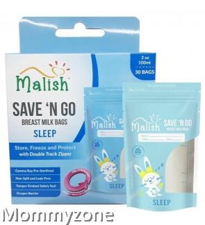 MALISH – SAVE 'N GO BREAST MILK BAGS 3.4OZ/100ML (25BAGS) * SLEEP