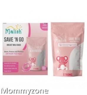 MALISH – SAVE 'N GO BREAST MILK BAGS 4OZ/120ML (28BAGS) * STRONG